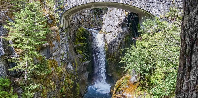Waterfall under a bridge at Mount Ranier National Park