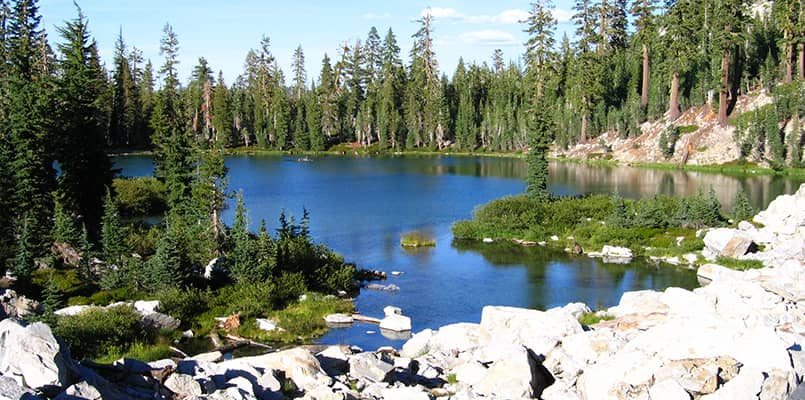 Beautiful mountain lake at Lassen Volcanic National Park