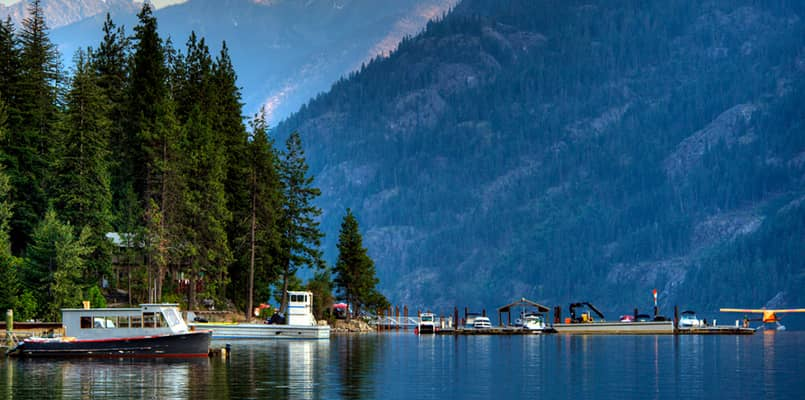 Boats on Lake Chelan at North Cascades National Park