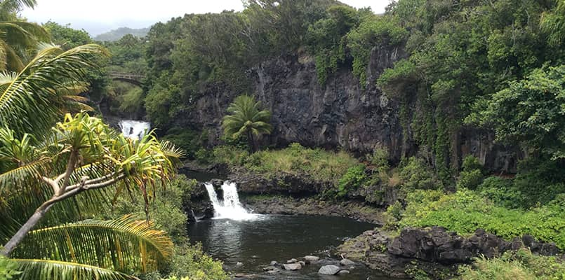 Waterfall in the lush forest of Haleakalā National Park